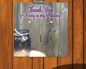 Mason Jar Wedding / Thank You / Earring Card Thank You / Wedding Thank You / Bridesmaid Thank You / DIY Earring Card / Print at home