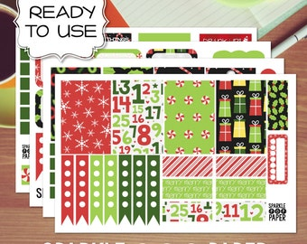 Cute Red and Green Christmas Weekly Layout Stickers for MAMBI Happy Planner
