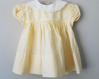 Vintage 50s Girls Yellow Dress with White Round Collar and Lace by C.I. Castro - Size 12 months- New, never worn- Easter Dress