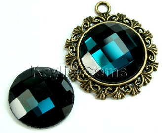 Mirror Glass Cabochon cab 20mm Round Checker Cut Faceted Dome -London Blue - 2pcs
