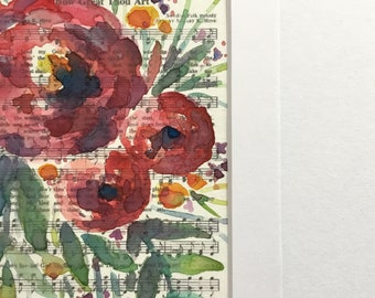 """Original Matted 4""""x 6"""" Watercolor on the Hymn """"How Great Thou Art"""" Floral Painting, original art, floral painting, watercolor florals"""