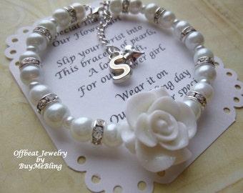 Personalized Pearl Glitter Flower Girl Bracelet, Personalized Flower Girl Gift, Pearl Flower Girl Jewelry, Personalized Pearl Kids Bracelet