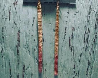 Ombre bead Loom Dangle drop earrings 4in
