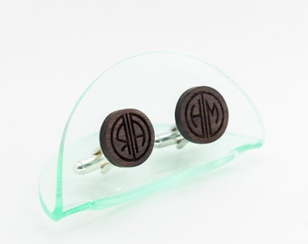 Personalised Monogram Cufflinks walnut wood. Great Gatsby style Solid Wooden Custom cufflinks for grooms or gift for men