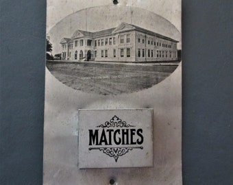 Match holder tin Zion Illinois memorabilia vintage