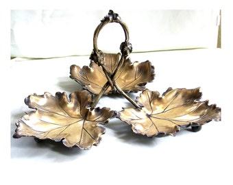 Brass Ashtray, Brass Leaf Server, Greap Leaf Ashtray, Ashtray, Rustic Ashtray, Leaf Ashtray, Bronze Ashtray