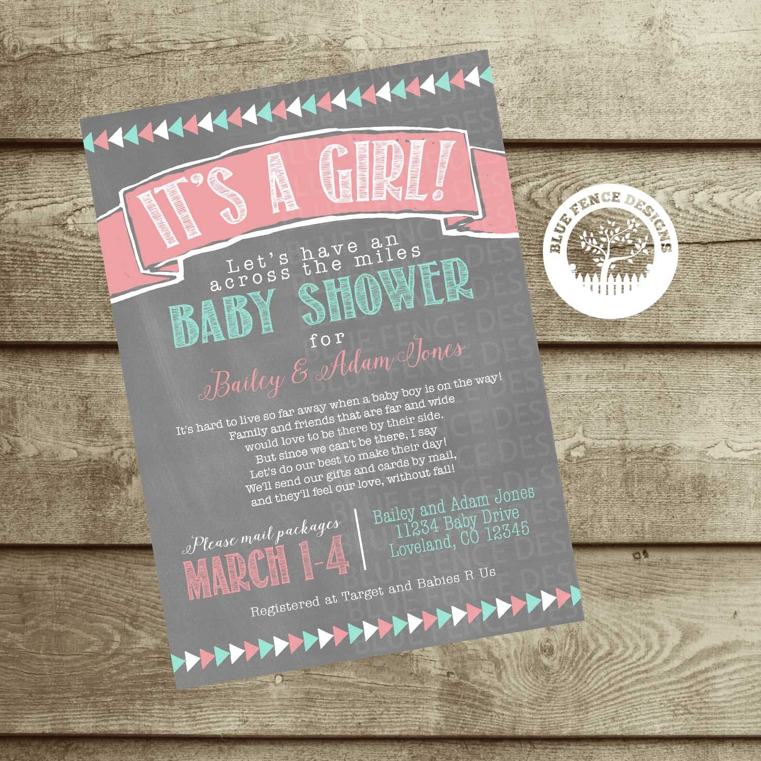 Long Distance Baby Shower Girl Shower Invite Military Baby