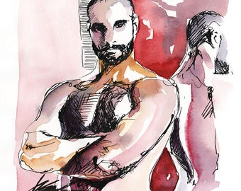 "Reflection - Male Figure 4x4"" ink and watercolor on paper - ORIGINAL by Brenden Sanborn"
