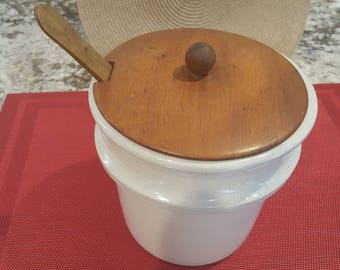 Vintage Stoneware Crock with Wooden Lid and Wooden Spoon