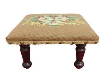 Petite Antique Needlepoint Foot Stool