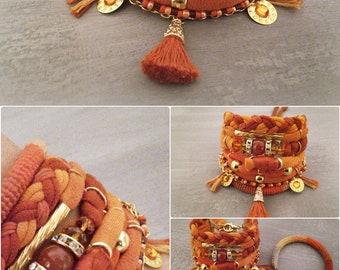 Orange Bohemian Gypsy Bracelet, Red Agate Bracelet, Tassel Boho Bracelet, Multi Layer Bracelet Bohemian Jewelry, Summer Boho Jewelry