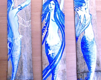 Set of Three Blue Fantasy Mermaid bathroom decor  -beach house-original art Hand Painted Art