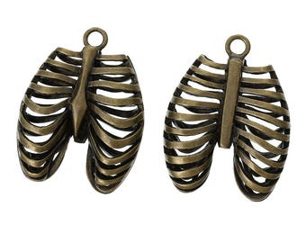 1 pc. Antique Bronze Anatomical Organ Ribs Rib Cage Medical Charms Pendants - 40mm X 30mm - 1.57 in x 1.18 in - Anatomically Correct!