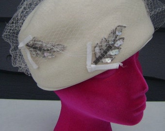 Vintage Pillbox Hat, Winter White w/ Sparkly Bling, Jackie O Style from JunqueGypsy, Wedding Fashion