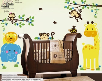 SUPER- Jungle wall decal, Jungle Time wall decal. Jungle wall decal with animal decals.