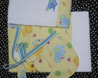Personalized Baby animals theme Blanket set,Cotton Baby Blanket,Bib and Burp Cloth Set,Baby Blanket,Burpee and Bib Gift Set, Blanket and Bib