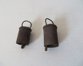Antique Pair of Farm Animal Bells - Small Rusty Bells