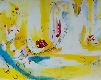 Large Easter Original Painting. Abstract Art, Yellow, Red Rose, Blood, Jesus, Broken Chain, Bright, Spiritual, PilgrimPainter