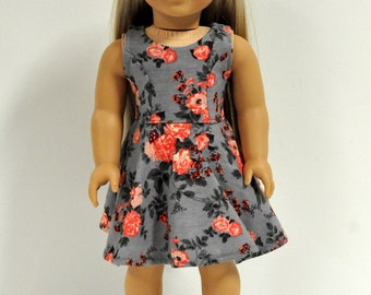 18 Inch Doll Clothes Gray and Coral Floral Print Sleeveless Skater Dress
