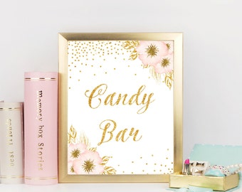 Pink and Gold Candy bar sign, Dessert sign, Gold Confetti bridal shower sign, Candy buffet, Bridal Shower Decorations, Printable sign, ConfP