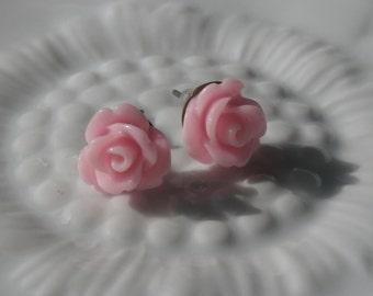 SALE Light Pink Rose Post Earrimgs