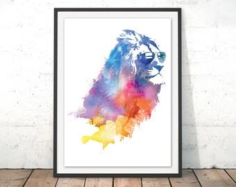 Lion Art Print Summer Lion Watercolour Gift Lion Painting Gift Idea for Kids Lion Illustration Home Decor Wall Art Lion by Robert Farkas
