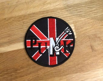 BRITISH PUNK ROCK Patch | Punk rock music | Union Jack British Flag | British Biker Flag | Union Jack British | Iron On Patch