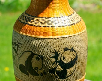 Vintage Asian Porcelain Vase Covered in Woven Bamboo