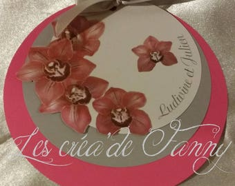 """Round """"Orchidia"""" wedding announcements"""