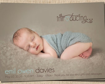 Baby Announcement (Introducing...) Baby Girl, Baby Boy Printable Birth Announcement