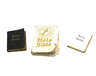 Dollhouse, Books, Bible, Bible Collection, Miniature, Library, Church, Religious, Old Stock, 1:12 Scale