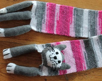 scarf, child, cat costume, grey and pink hand knitted