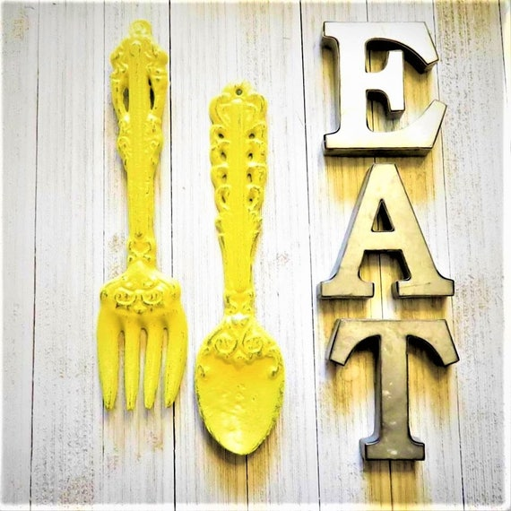 Kitchen Wall Decor Kitchen Wall Art EAT Letters ForkSpoon
