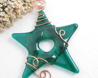Green Glass Star Suncatcher - Emerald Green Fused Glass Star Ornament - Handmade Green Glass Star Christmas Ornament Suncatcher