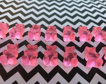 20pc. Pink Resin Gummy Bears, Looks so Real, Kawaii flatback