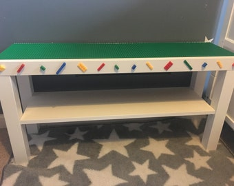 Childrens play table for building bricks and playing lego on , baseplates and storage