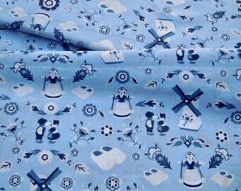 Delft Blue cotton fabric - Dutch blue farmers and fower print - Fat Quarter
