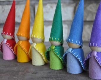 Rainbow Gnomes - Wooden and Wool Felt Peg Dolls Set -  Waldorf and Montessori Inspired Preschool Pretend Play Felt Toys (K)