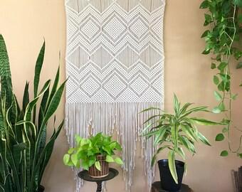 Extra Large Macrame Wall Hanging - Natural White Cotton Rope Fiber Art Tapestry - Geometric Boho Chic Home Decor, Wedding Backdrop, Curtain