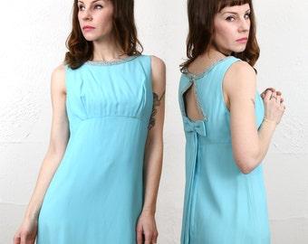 1960s Open Back Dress . Robins Egg Blue