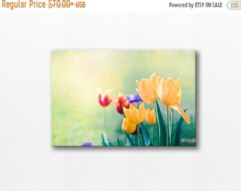 ON SALE canvas wall hanging canvas wall art floral flower photography fine art photography tulips canvas print yellow pastel art nature mint