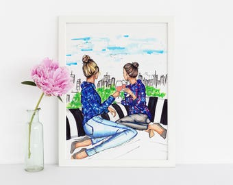 Rooftops and Rosé (Fashion Illustration Print) (Fashion Illustration Art - Fashion Sketch prints - Home Decor - Wall Decor )