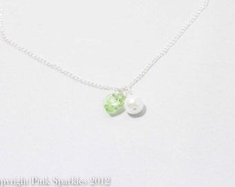 Peridot Green Swarovski Heart and White Pearl Necklace
