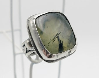 Handmade Woman's Sterling Silver Ring with Natural Green Rutilated Prehnite. Size 6-3/4