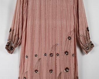 Dusty Rose Beaded Silk Shift Dress