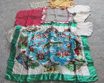 Scarves, weaved silk, vintage doilies