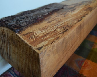 "Reclaimed Barn Wood Mantel 42 "" x 8"" x 6"" Fireplace Mantle Shelf Live Edge Rustic Antique Barnwood"