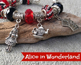 Alice in Wonderland Charm Bracelet, Princess Jewelry, Stocking Stuffer, Red and Black, Movie Jewelry, Gift for Her, White Rabbit
