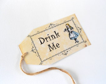 Alice in Wonderland Drink Me Gift Tags Vintage Antique Style Tea Party Favors Weddings Coffee Stained String Blue Yellow