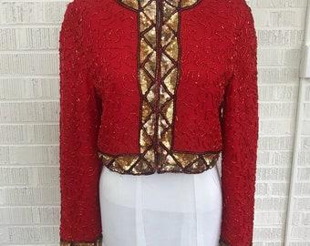 Red Silk Sequined Beaded Bolero jacket A. J. BARI Ladies Dinner Evening  Size 8